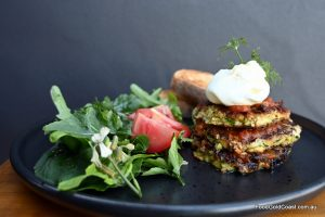 Zucchini and 'Mr Squeaky' haloumi fritters, by Cheeses Loves You